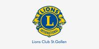 Logo des Lions Club St. Gallen, der den Verein Naturschule St. Gallen als Sponsor unterstützt.